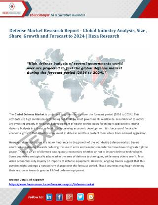 Defense Market Analysis, Size, Share, Growth, Industry Trends and Forecast to 2024 | Hexa Research