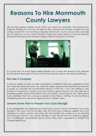 Reasons To Hire Monmouth County Lawyers