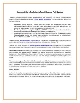 Jetapps Offers Proficient cPanel Restore Full Backup