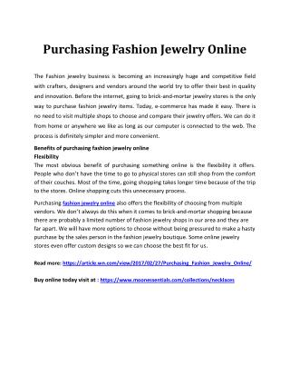 Purchasing fashion jewelry online