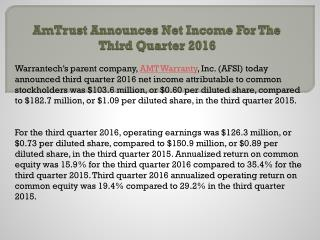 Am trust announces net income for the third quarter 2016