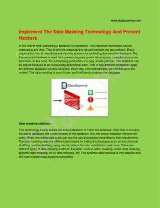 Implement The Data Masking Technology And Prevent Hackers