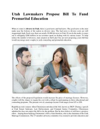 Utah Lawmakers Propose Bill To Fund Premarital Education
