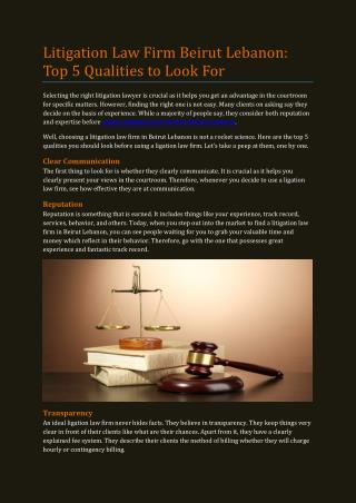 Litigation Law Firm Beirut Lebanon: Top 5 Qualities to Look For