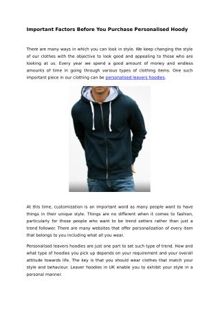 Important Factors Before You Purchase Personalised Hoody