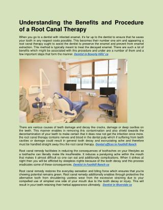 Understanding The Benefits And Procedure Of A Root Canal Therapy
