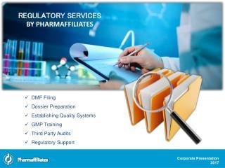 Regulatory services - Pharmaffiliates