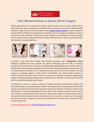 Find Ultimate Artistry in Korean Plastic Surgery