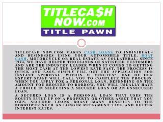Get Instant Cash loans Online by Title Cash Now