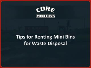 Tips for Renting Mini Bins for Waste Disposal