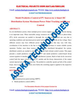 Model Predictive Control of PV Sources in A Smart DC Distribution System Maximum Power Point Tracking and Droop Control