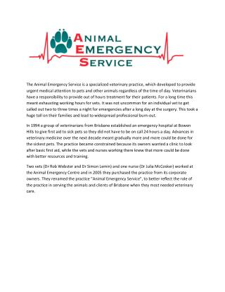 Medical services for animals