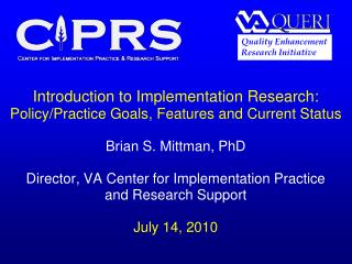 Introduction to Implementation Research:  Policy