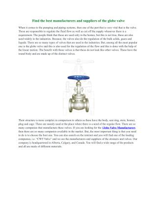 Suppliers & Manufacturers of Globe Valve