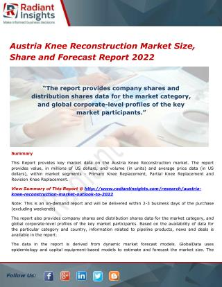 Austria Knee Reconstruction Market Share, Strategies and Forecasts 2022