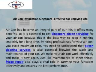 Air con installation Singapore Effective For Enjoying Life