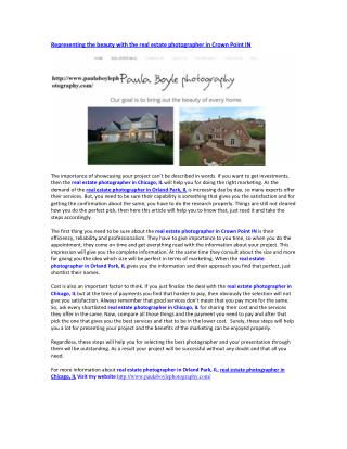 Real estate photographer in crown point IN