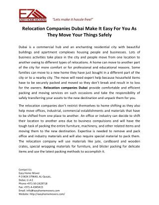 Relocation Companies Dubai Make It Easy For You As They Move Your Things Safely