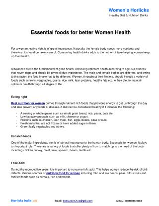 Essential foods for better Women Health