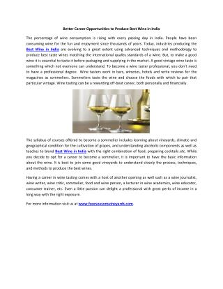 Better Career Opportunities to Produce Best Wine in India