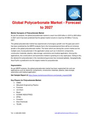 Global Polycarbonate Market - Forecast to 2027