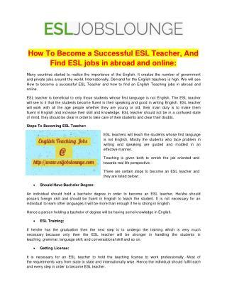 ESL Teaching Jobs