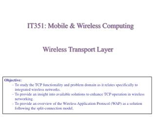Wireless Transport Layer