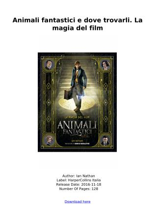 [DOWNLOAD] Animali fantastici e dove trovarli. La magia del film ebook