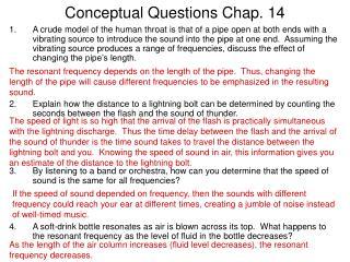 Conceptual Questions Chap. 14
