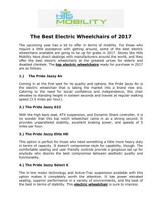 The Best Electric Wheelchairs of 2017