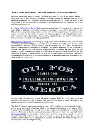 Oil and Gas Investment | Michael Bowen