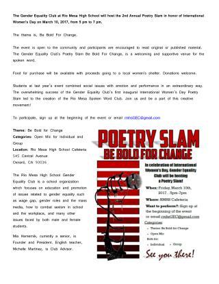 Rio Mesa High School Gender Equality Club 2nd Annual Poetry Slam
