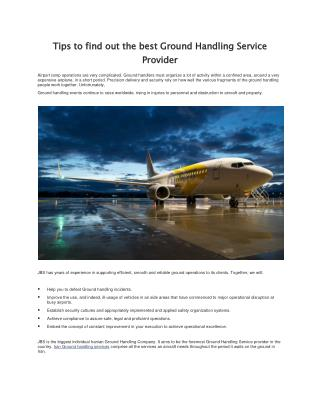 Find Best Ground Handling Service Provider