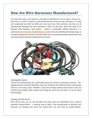 How Are Wire Harnesses Manufactured?