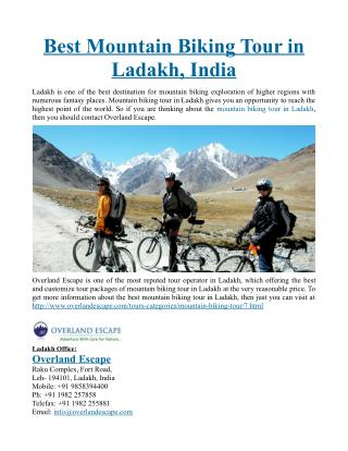 Best Mountain Biking Tour in Ladakh