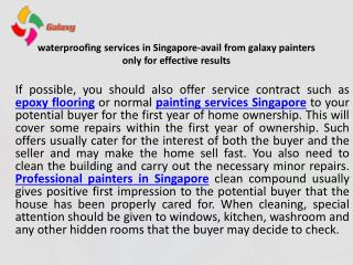Waterproofing services in singapore avail from galaxy painters only for effective results