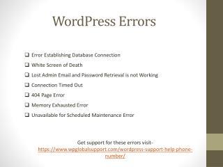 WordPress support for errors
