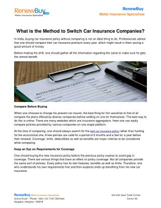What is the Method to Switch Car Insurance Companies?