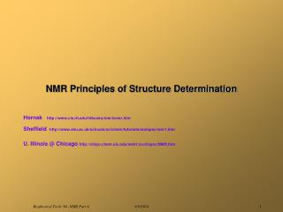 NMR Principles of Structure Determination