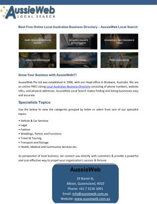Best Free Online Local Australian Business Directory – AussieWeb Local Search
