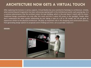 Architecture Now Gets A Virtual Touch