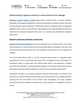 Medical writing for regulatory submission in clinical research and its challenges