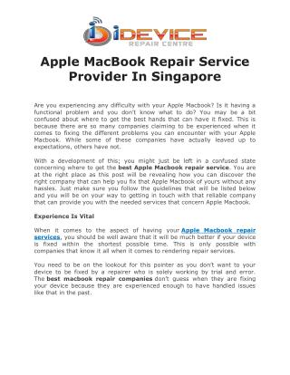 Apple MacBook Repair Service Provider In Singapore