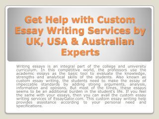 Custom Essay Writing Services - Quality Custom Essay Help in UK - USA & Australia