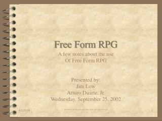 Free Form RPG
