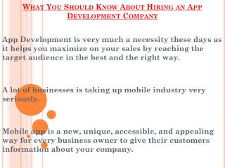 Things Should Know About Hiring an App Development Company