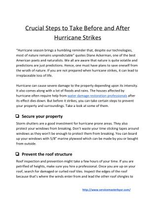 Crucial Steps to Take Before and After Hurricane Strikes