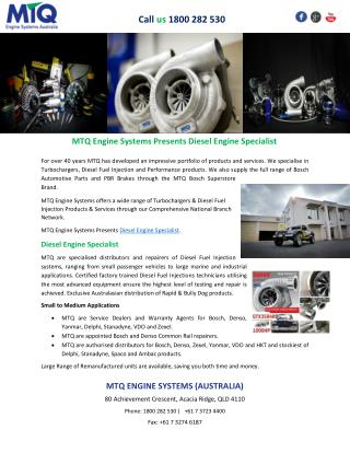 MTQ Engine Systems Presents Diesel Engine Specialist