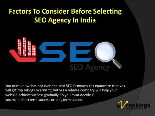 Factors To Consider Before Selecting SEO Agency In India