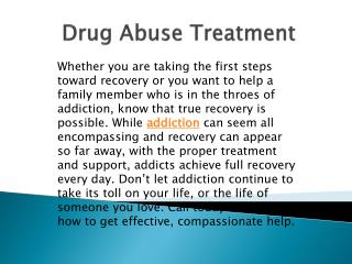 Drug Abuse Treatment | Reliable Detoxification Program